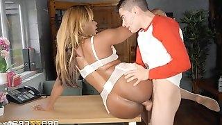 Jasmine webb lying on the desk gets pussy penetrated