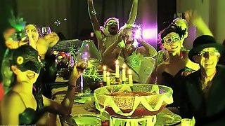 Brutal BDSM gangbang orgy in neon with a lot of crazy sluts