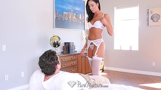 Tantalizing mistress in off colour lingerie Tiffany Brookes is lap dancing before sex
