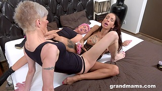 Dirty of age enjoys having sex with two younger lesbian babes
