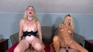 Hardcore foursome with two younger dudes and two horny matures